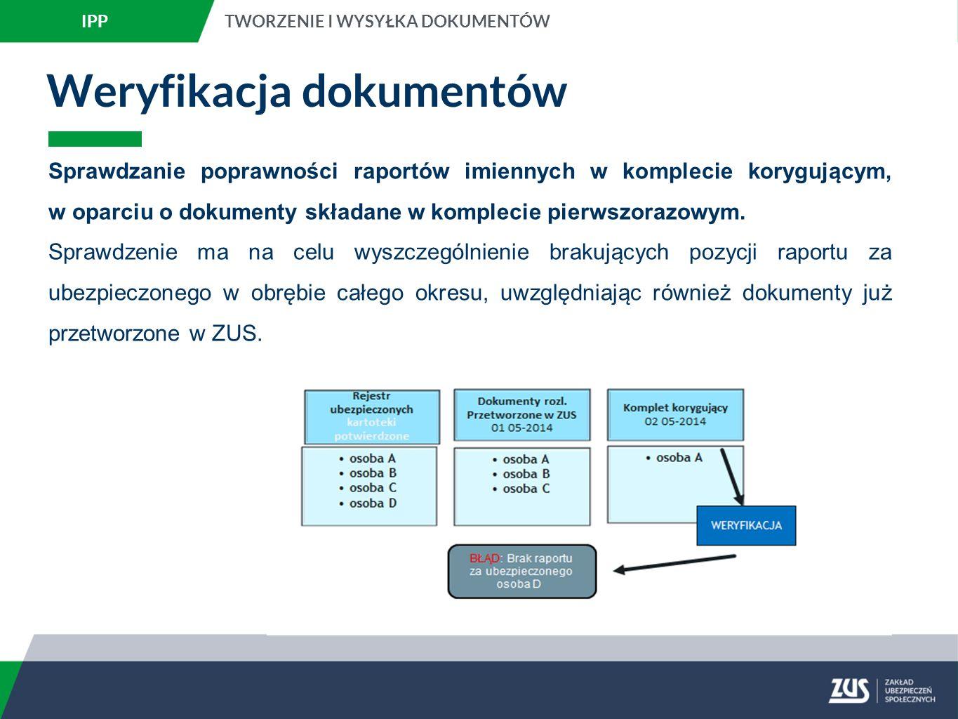 Weryfikacja dokumentów Sprawdzanie poprawności raportów imiennych w komplecie korygującym, w oparciu o dokumenty składane w komplecie pierwszorazowym.