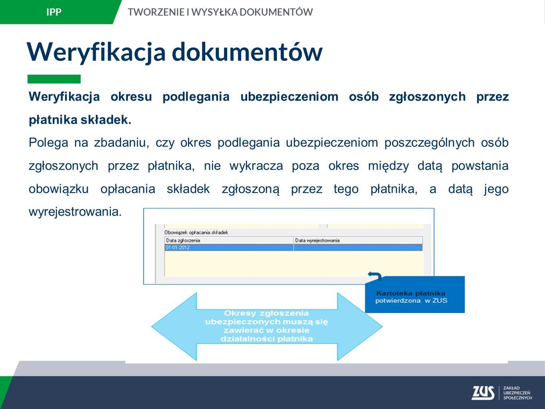 Weryfikacja dokumentów Weryfikacja okresu podlegania ubezpieczeniom osób zgłoszonych przez płatnika składek.