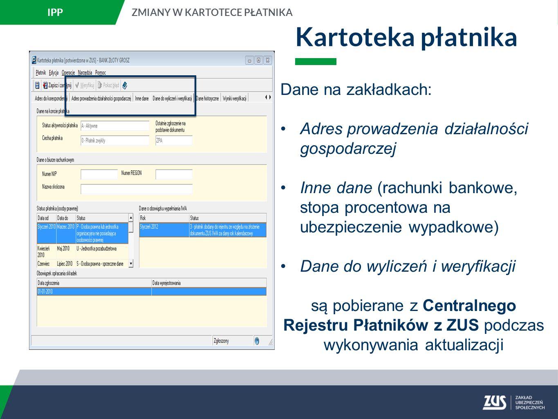 Kartoteka płatnika Istnieje możliwość anulowania potwierdzenia kartoteki płatnika o statusie potwierdzona w ZUS.