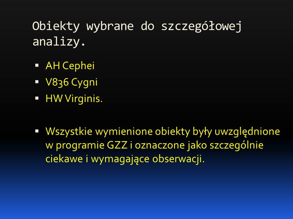 Obiekty wybrane do szczegółowej analizy.  AH Cephei  V836 Cygni  HW Virginis.
