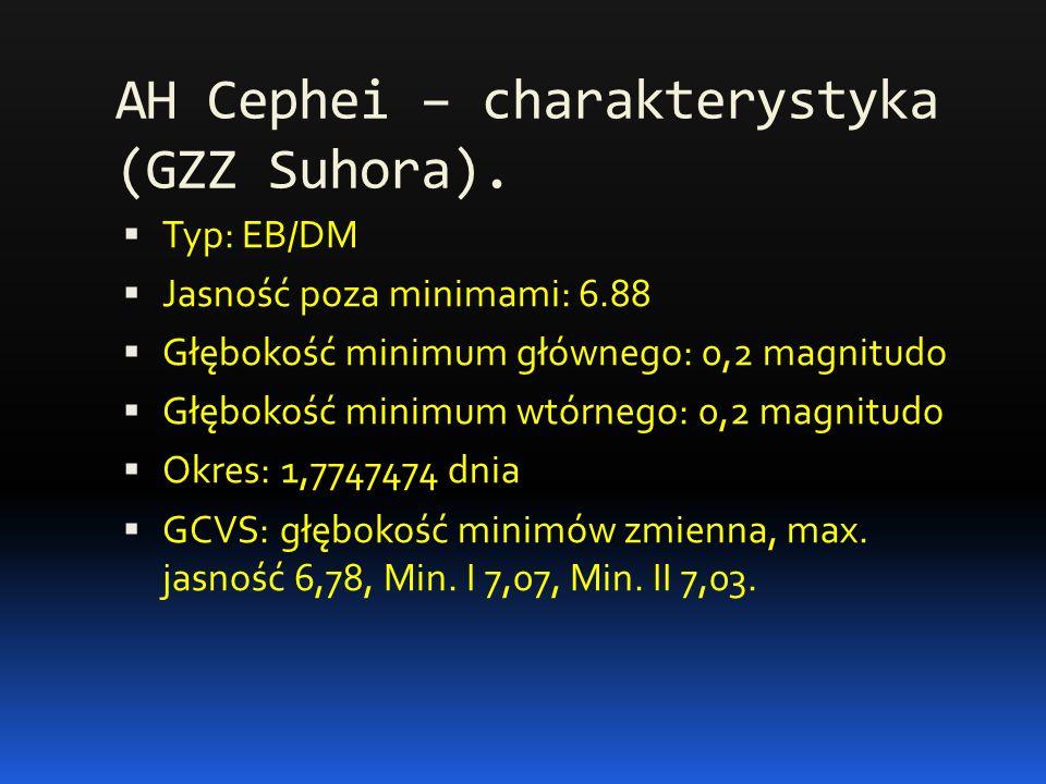 AH Cephei – charakterystyka (GZZ Suhora).  Typ: EB/DM  Jasność poza minimami: 6.88  Głębokość minimum głównego: 0,2 magnitudo  Głębokość minimum w