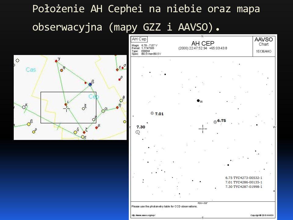 Położenie AH Cephei na niebie oraz mapa obserwacyjna (mapy GZZ i AAVSO).