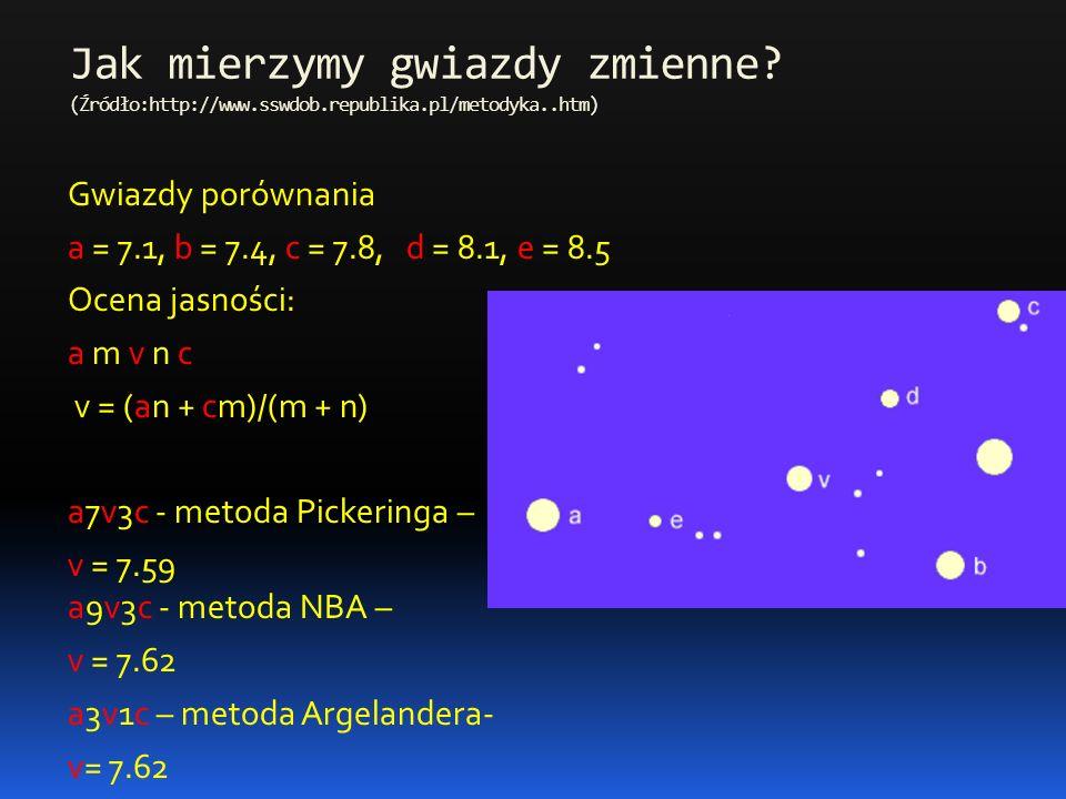 Jak mierzymy gwiazdy zmienne? (Źródło:http://www.sswdob.republika.pl/metodyka..htm) Gwiazdy porównania a = 7.1, b = 7.4, c = 7.8, d = 8.1, e = 8.5 Oce