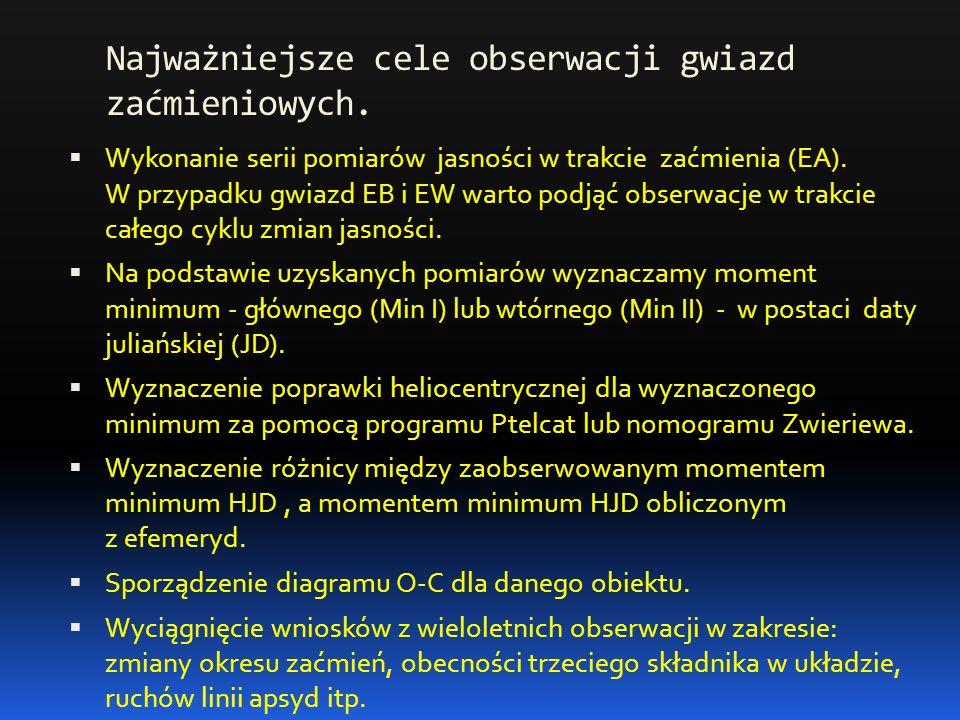 Najważniejsze cele obserwacji gwiazd zaćmieniowych.  Wykonanie serii pomiarów jasności w trakcie zaćmienia (EA). W przypadku gwiazd EB i EW warto pod