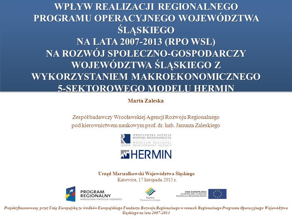 Plan prezentacji 1.Cel badania 2.Metoda badania 3.Fundusze w ramach RPO WSL 2007-2013 4.Wyniki wpływu 5.Podsumowanie i wnioski