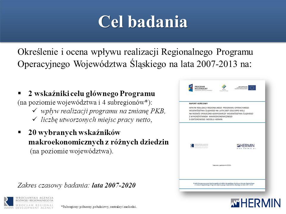Cel badania Określenie i ocena wpływu realizacji Regionalnego Programu Operacyjnego Województwa Śląskiego na lata 2007-2013 na : *Subregiony: północny, południowy, centralny i zachodni.