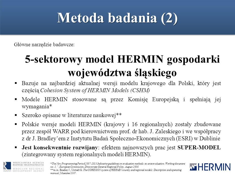 Metoda badania (2) Główne narzędzie badawcze: 5-sektorowy model HERMIN gospodarki województwa śląskiego *The New Programming Period 2007-2013.Indicati