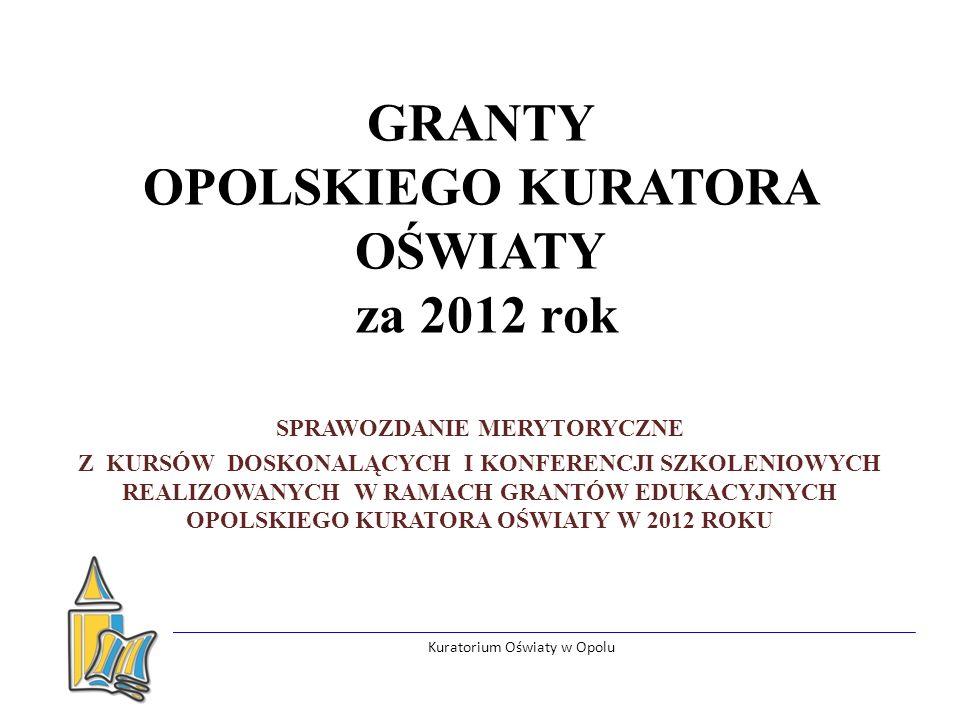 Kuratorium Oświaty w Opolu GRANTY OPOLSKIEGO KURATORA OŚWIATY za 2012 rok SPRAWOZDANIE MERYTORYCZNE Z KURSÓW DOSKONALĄCYCH I KONFERENCJI SZKOLENIOWYCH REALIZOWANYCH W RAMACH GRANTÓW EDUKACYJNYCH OPOLSKIEGO KURATORA OŚWIATY W 2012 ROKU