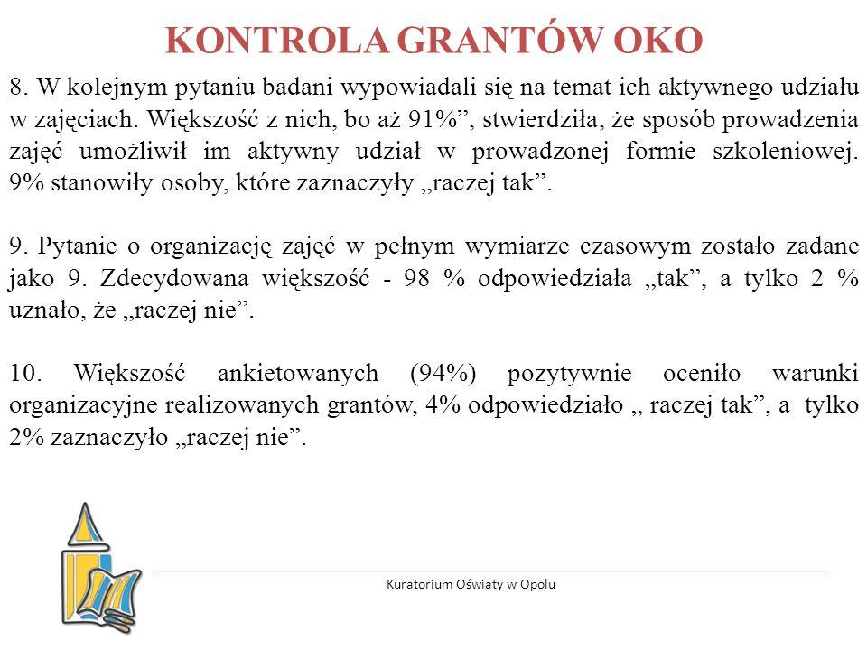 Kuratorium Oświaty w Opolu KONTROLA GRANTÓW OKO 8.