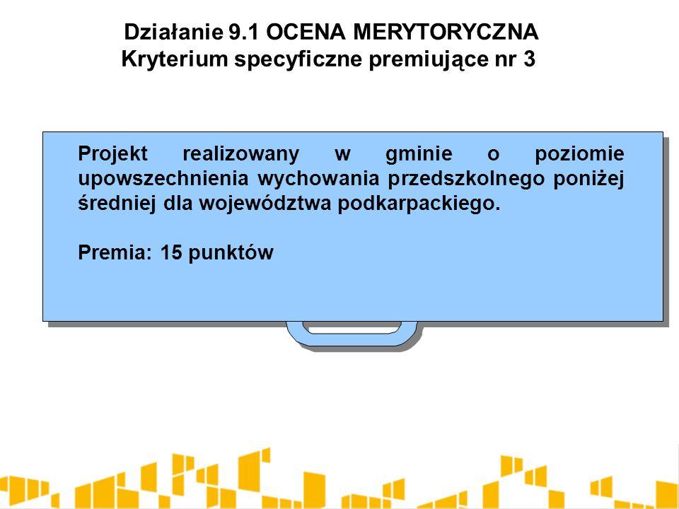 Projekt realizowany w gminie o poziomie upowszechnienia wychowania przedszkolnego poniżej średniej dla województwa podkarpackiego.
