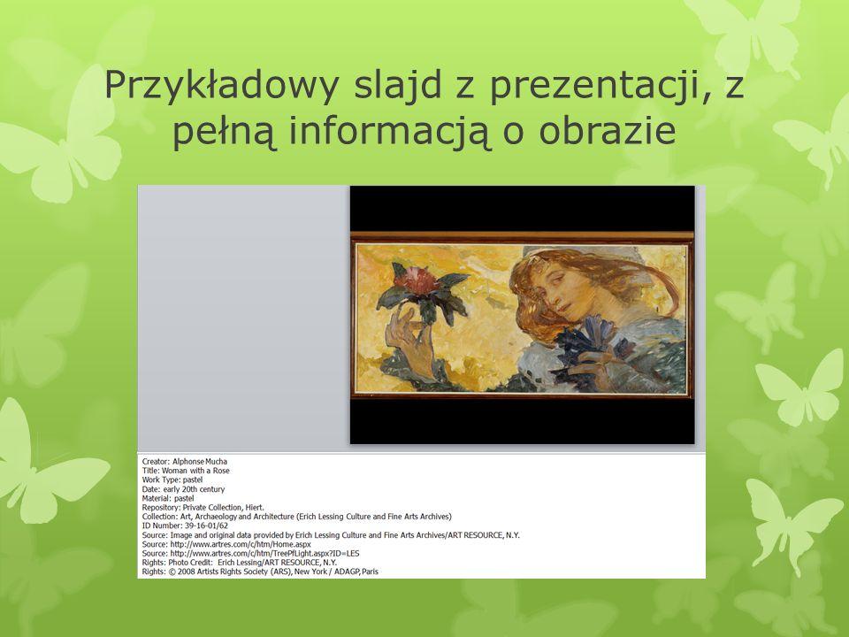 Przykładowy slajd z prezentacji, z pełną informacją o obrazie