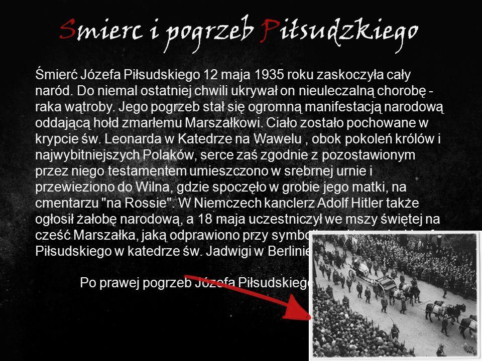 Smierc i pogrzeb Piłsudzkiego Śmierć Józefa Piłsudskiego 12 maja 1935 roku zaskoczyła cały naród. Do niemal ostatniej chwili ukrywał on nieuleczalną c