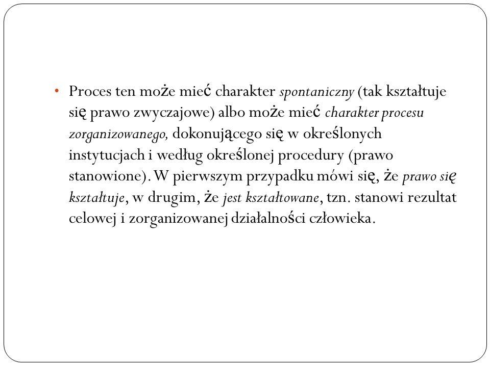 Proces ten mo ż e mie ć charakter spontaniczny (tak kształtuje si ę prawo zwyczajowe) albo mo ż e mie ć charakter procesu zorganizowanego, dokonuj ą c