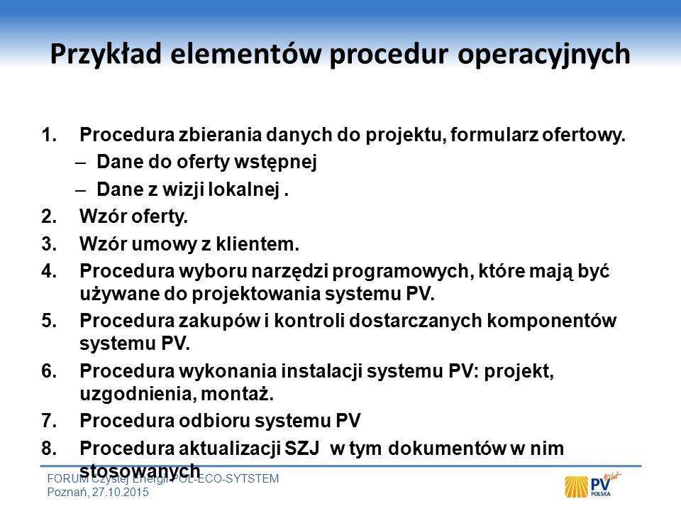 FORUM Czystej Energii POL-ECO-SYTSTEM Poznań, 27.10.2015 Przykład elementów procedur operacyjnych 1.Procedura zbierania danych do projektu, formularz ofertowy.