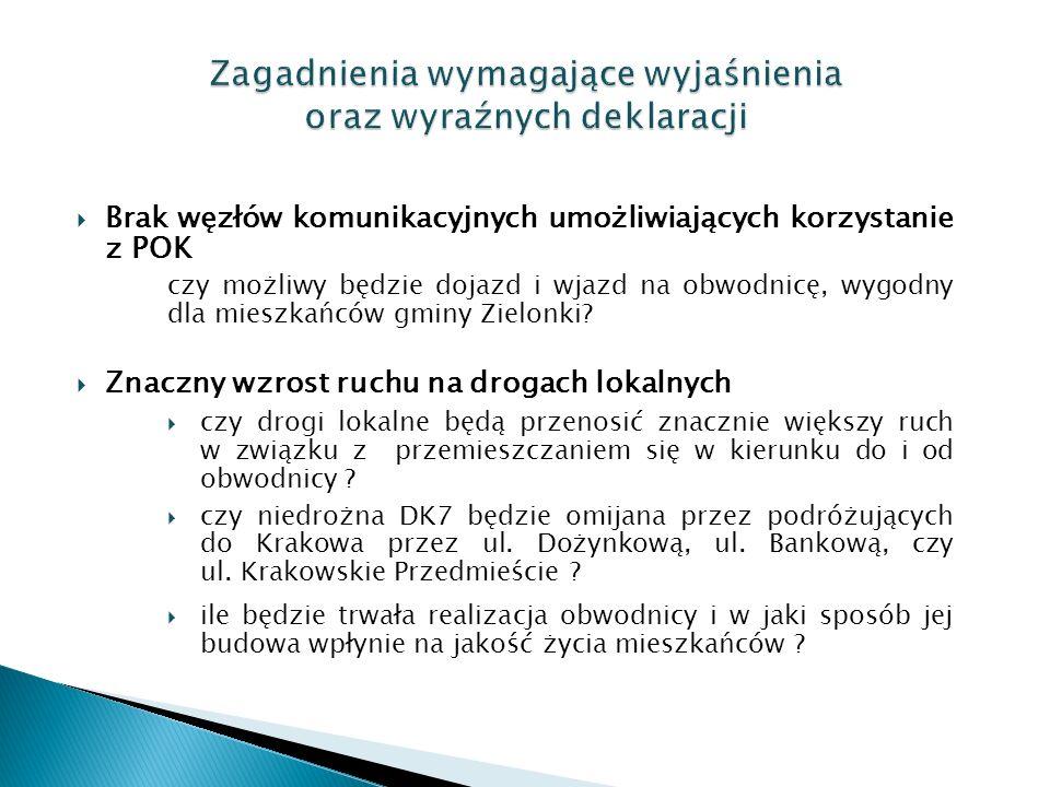  Brak węzłów komunikacyjnych umożliwiających korzystanie z POK czy możliwy będzie dojazd i wjazd na obwodnicę, wygodny dla mieszkańców gminy Zielonki.