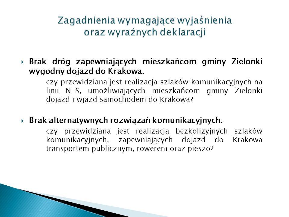  Brak dróg zapewniających mieszkańcom gminy Zielonki wygodny dojazd do Krakowa.