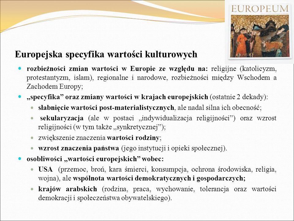 Europejska specyfika wartości kulturowych rozbieżności zmian wartości w Europie ze względu na: religijne (katolicyzm, protestantyzm, islam), regionaln