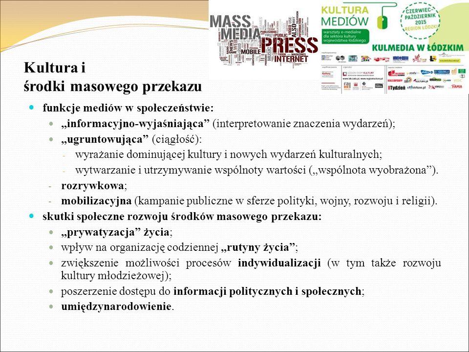 """Kultura i środki masowego przekazu funkcje mediów w społeczeństwie: """"informacyjno-wyjaśniająca"""" (interpretowanie znaczenia wydarzeń); """"ugruntowująca"""""""