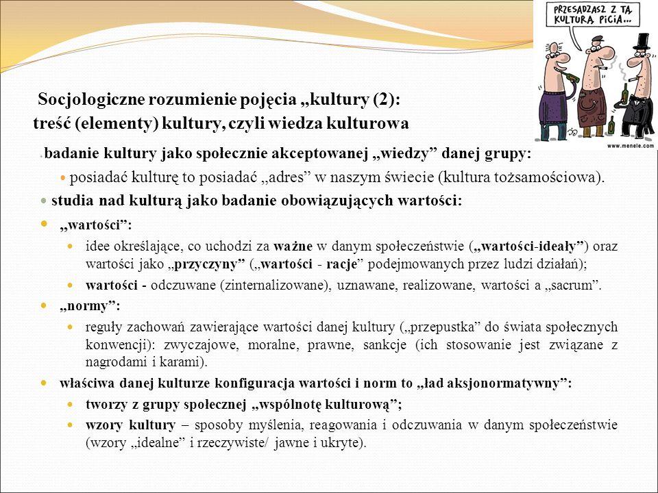 """Socjologiczne rozumienie pojęcia """"kultury (2): treść (elementy) kultury, czyli wiedza kulturowa badanie kultury jako społecznie akceptowanej """"wiedzy"""""""