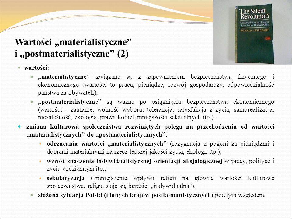 """Wartości """"materialistyczne"""" i """"postmaterialistyczne"""" (2) wartości: """"materialistyczne"""" związane są z zapewnieniem bezpieczeństwa fizycznego i ekonomicz"""