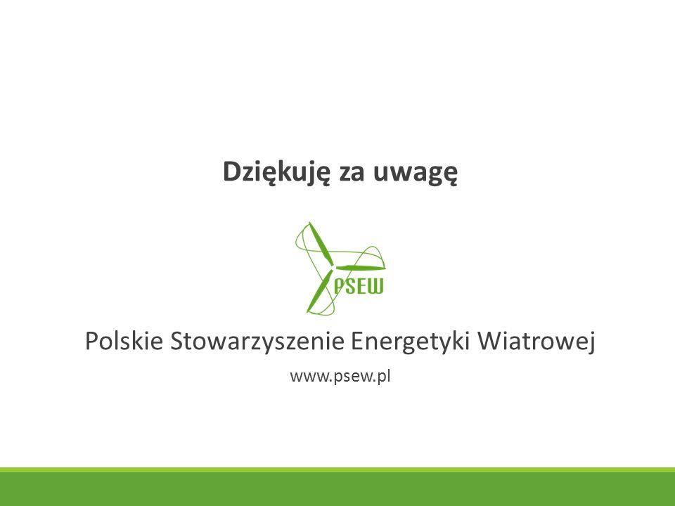 Dziękuję za uwagę Polskie Stowarzyszenie Energetyki Wiatrowej www.psew.pl