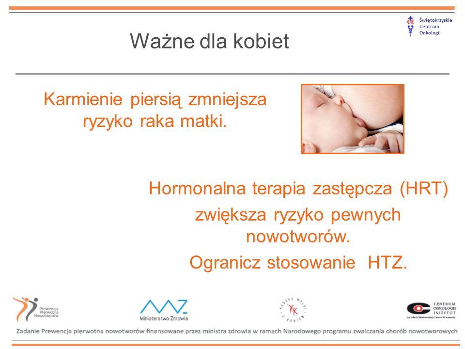 Świętokrzyskie Centrum Onkologii Ważne dla kobiet Karmienie piersią zmniejsza ryzyko raka matki. Hormonalna terapia zastępcza (HRT) zwiększa ryzyko pe
