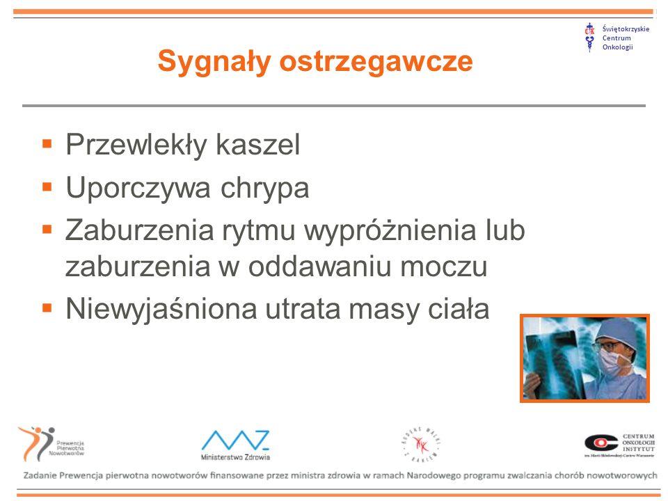 Świętokrzyskie Centrum Onkologii  Przewlekły kaszel  Uporczywa chrypa  Zaburzenia rytmu wypróżnienia lub zaburzenia w oddawaniu moczu  Niewyjaśnio