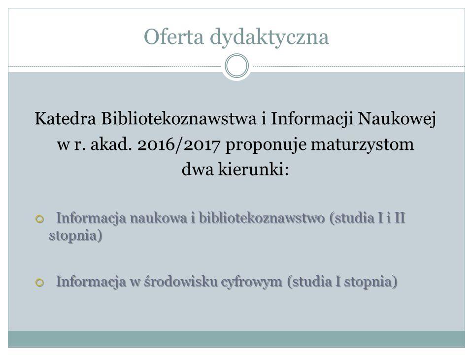 Oferta dydaktyczna Katedra Bibliotekoznawstwa i Informacji Naukowej w r.