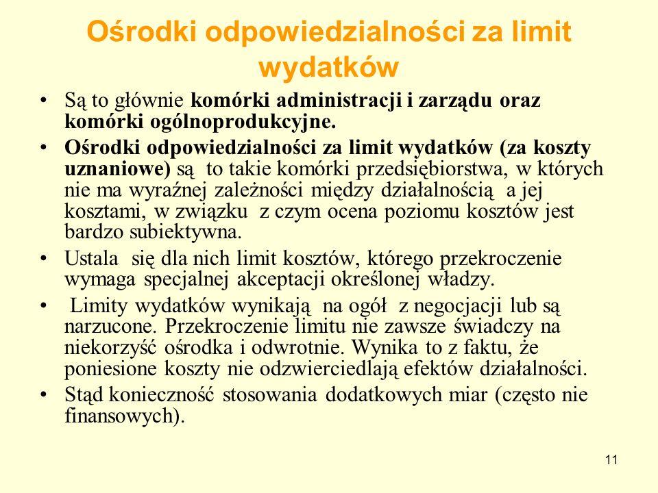 11 Ośrodki odpowiedzialności za limit wydatków Są to głównie komórki administracji i zarządu oraz komórki ogólnoprodukcyjne. Ośrodki odpowiedzialności