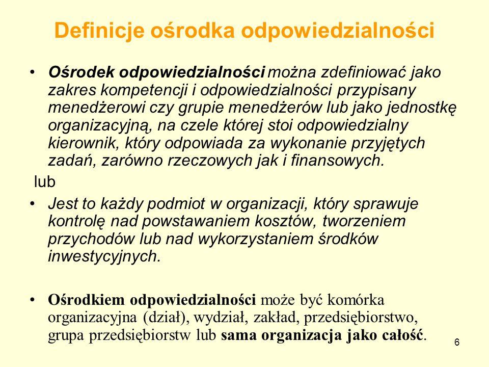 6 Definicje ośrodka odpowiedzialności Ośrodek odpowiedzialności można zdefiniować jako zakres kompetencji i odpowiedzialności przypisany menedżerowi c