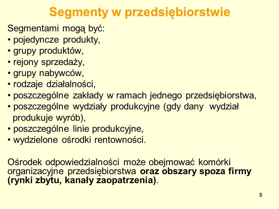 8 Segmenty w przedsiębiorstwie Segmentami mogą być: pojedyncze produkty, grupy produktów, rejony sprzedaży, grupy nabywców, rodzaje działalności, posz