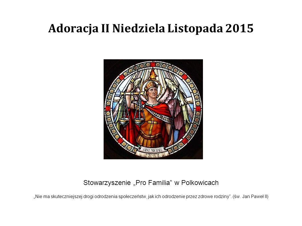 """Adoracja II Niedziela Listopada 2015 Stowarzyszenie """"Pro Familia"""" w Polkowicach """"Nie ma skuteczniejszej drogi odrodzenia społeczeństw, jak ich odrodze"""