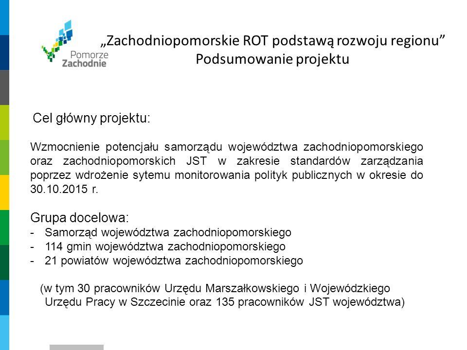 """""""Zachodniopomorskie ROT podstawą rozwoju regionu Podsumowanie projektu Podmioty uczestniczące w działaniach: -Podmioty badawczo – analityczne -Uczelnie wyższe -Instytucje B + R -Organizacje pozarządowe -KOT i ROT innych województw"""
