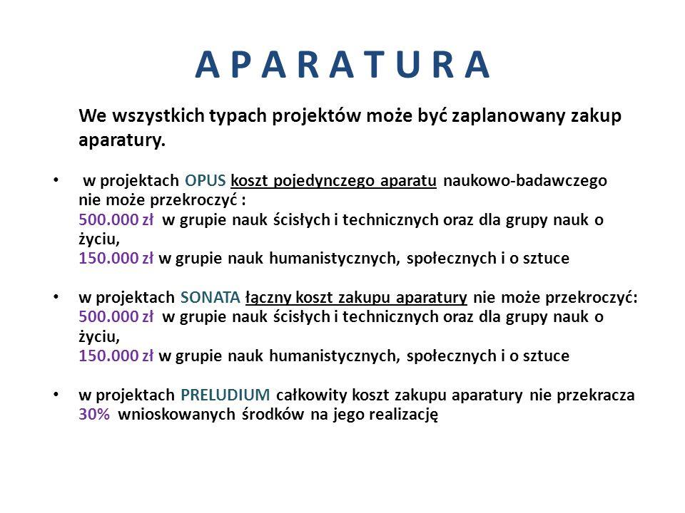 A P A R A T U R A We wszystkich typach projektów może być zaplanowany zakup aparatury. w projektach OPUS koszt pojedynczego aparatu naukowo-badawczego