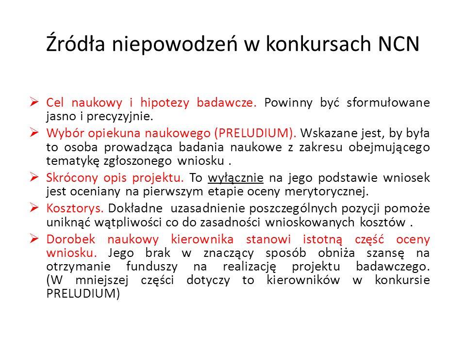 Źródła niepowodzeń w konkursach NCN  Cel naukowy i hipotezy badawcze. Powinny być sformułowane jasno i precyzyjnie.  Wybór opiekuna naukowego (PRELU