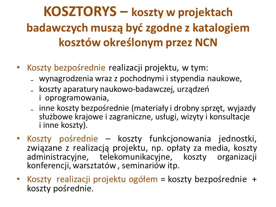 KOSZTORYS – koszty w projektach badawczych muszą być zgodne z katalogiem kosztów określonym przez NCN Koszty bezpośrednie realizacji projektu, w tym: