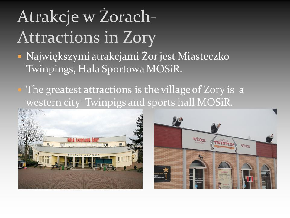 Największymi atrakcjami Żor jest Miasteczko Twinpings, Hala Sportowa MOSiR. The greatest attractions is the village of Zory is a western city Twinpigs