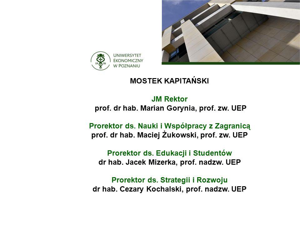 MOSTEK KAPITAŃSKI JM Rektor prof. dr hab. Marian Gorynia, prof.