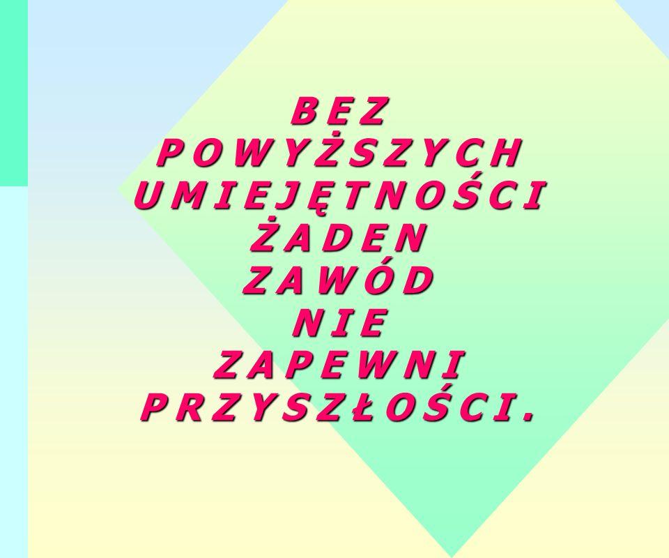 B E Z P O W Y Ż S Z Y C H U M I E J Ę T N O Ś C I Ż A D E N Z A W Ó D N I E Z A P E W N I P R Z Y S Z Ł O Ś C I.