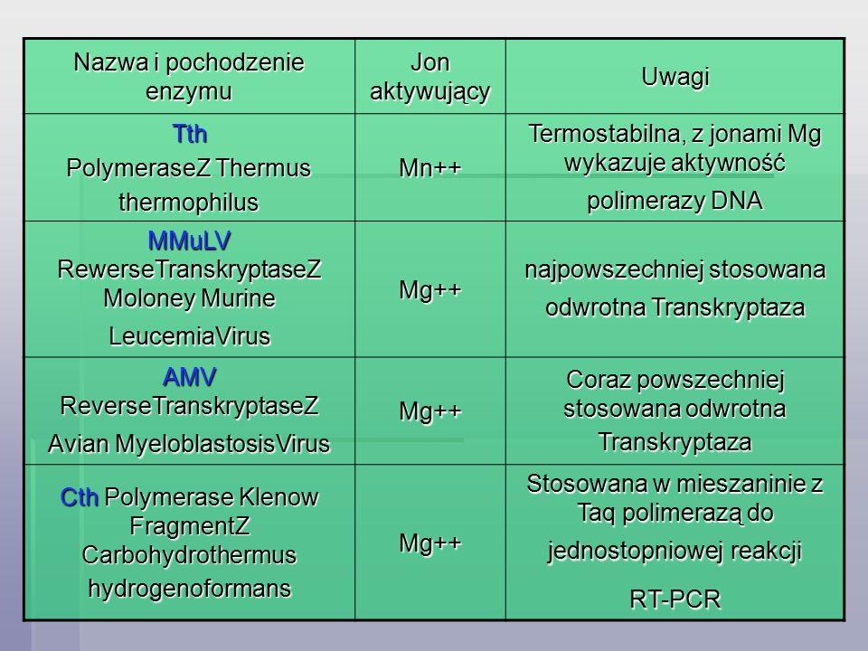 Nazwa i pochodzenie enzymu Jon aktywujący Uwagi Tth PolymeraseZ Thermus thermophilus Mn++ Termostabilna, z jonami Mg wykazuje aktywność polimerazy DNA MMuLV RewerseTranskryptaseZ Moloney Murine LeucemiaVirus Mg++ najpowszechniej stosowana odwrotna Transkryptaza AMV ReverseTranskryptaseZ Avian MyeloblastosisVirus Mg++ Coraz powszechniej stosowana odwrotna Transkryptaza Cth Polymerase Klenow FragmentZ Carbohydrothermus hydrogenoformans Mg++ Stosowana w mieszaninie z Taq polimerazą do jednostopniowej reakcji RT-PCR