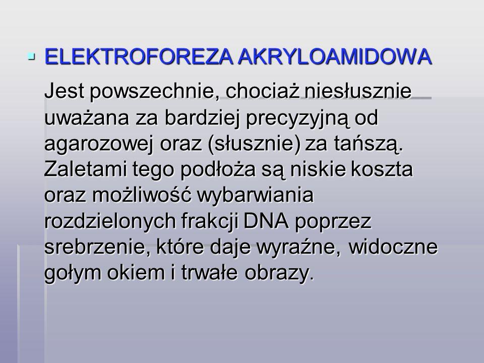  ELEKTROFOREZA AKRYLOAMIDOWA Jest powszechnie, chociaż niesłusznie uważana za bardziej precyzyjną od agarozowej oraz (słusznie) za tańszą.