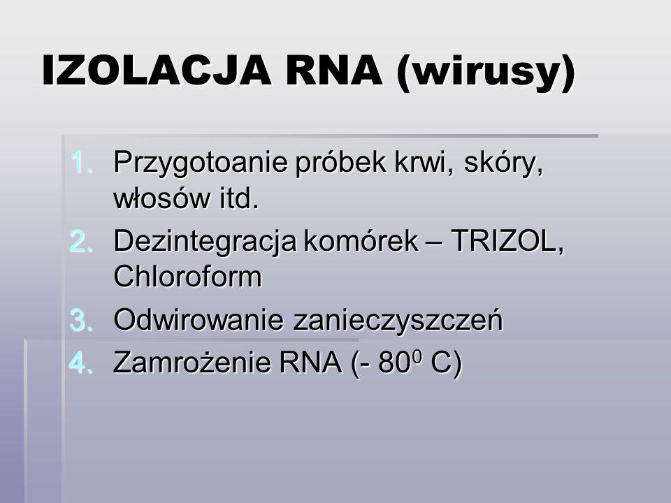 IZOLACJA RNA (wirusy) 1.Przygotoanie próbek krwi, skóry, włosów itd.