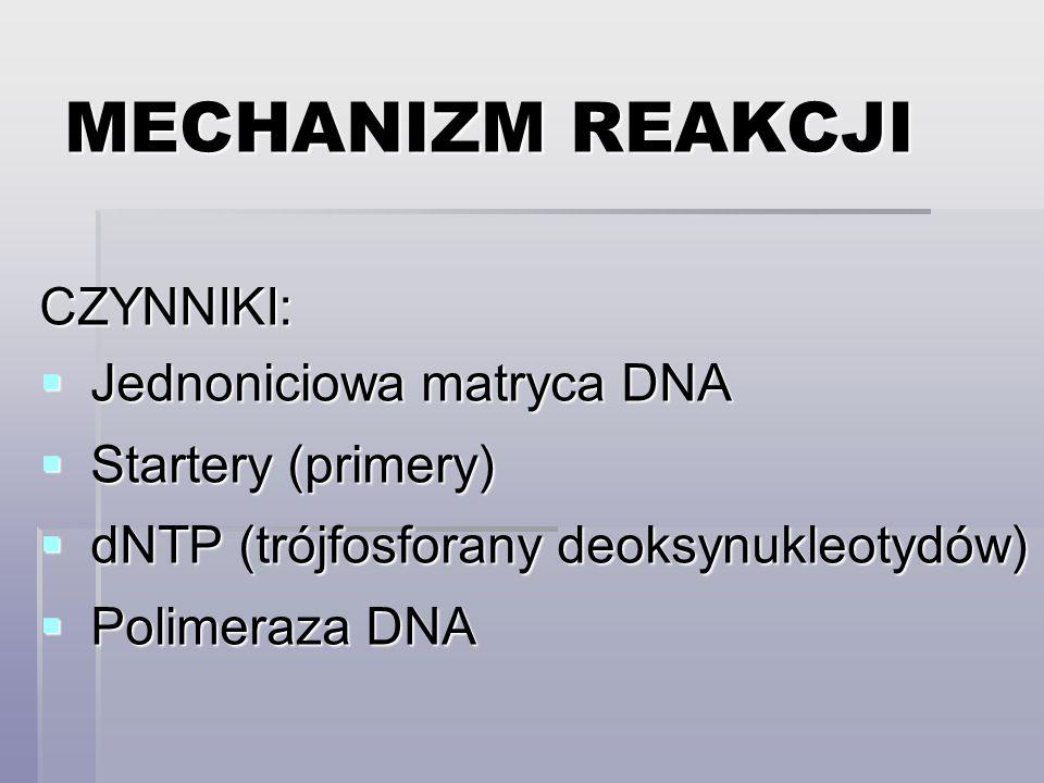 MECHANIZM REAKCJI CZYNNIKI:  Jednoniciowa matryca DNA  Startery (primery)  dNTP (trójfosforany deoksynukleotydów)  Polimeraza DNA