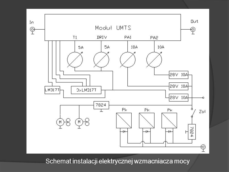 Schemat instalacji elektrycznej wzmacniacza mocy