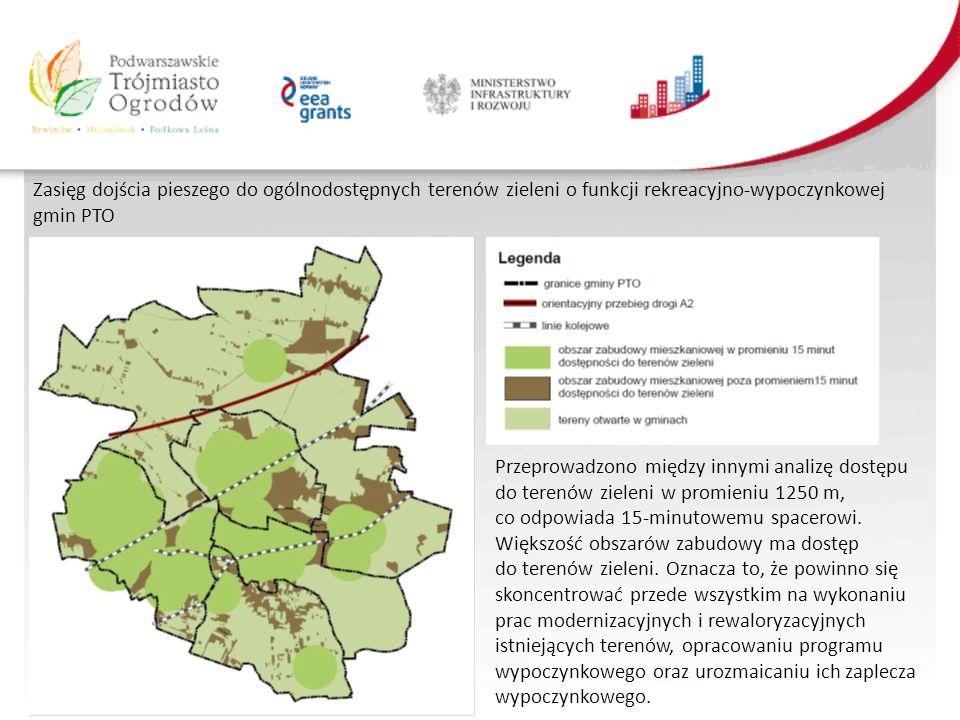 Zasięg dojścia pieszego do ogólnodostępnych terenów zieleni o funkcji rekreacyjno-wypoczynkowej gmin PTO Przeprowadzono między innymi analizę dostępu do terenów zieleni w promieniu 1250 m, co odpowiada 15-minutowemu spacerowi.