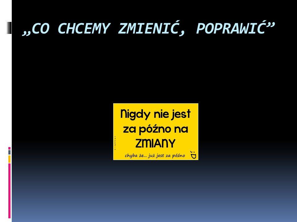 """""""CO CHCEMY ZMIENIĆ, POPRAWIĆ"""