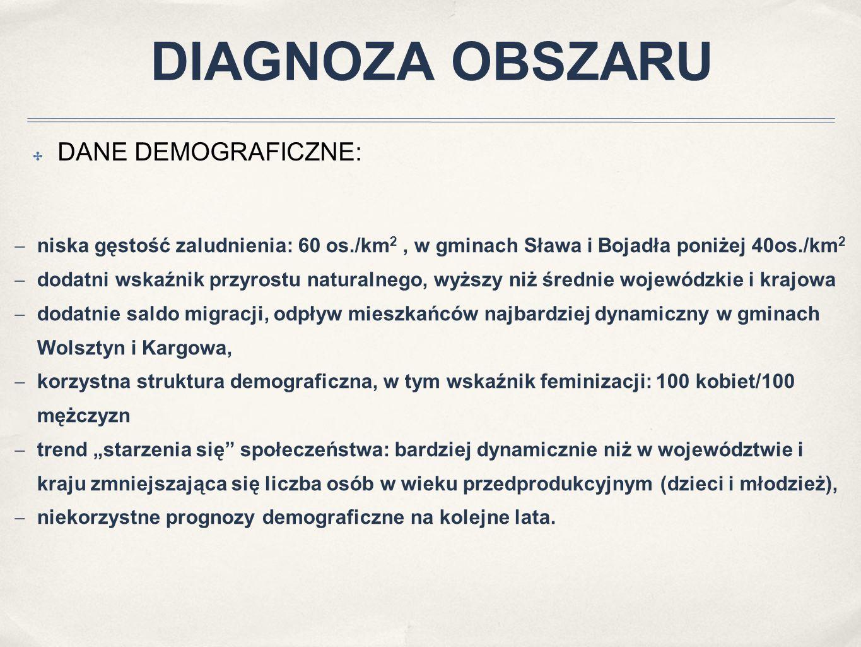 ✤ DANE DEMOGRAFICZNE:  niska gęstość zaludnienia: 60 os./km 2, w gminach Sława i Bojadła poniżej 40os./km 2  dodatni wskaźnik przyrostu naturalnego,