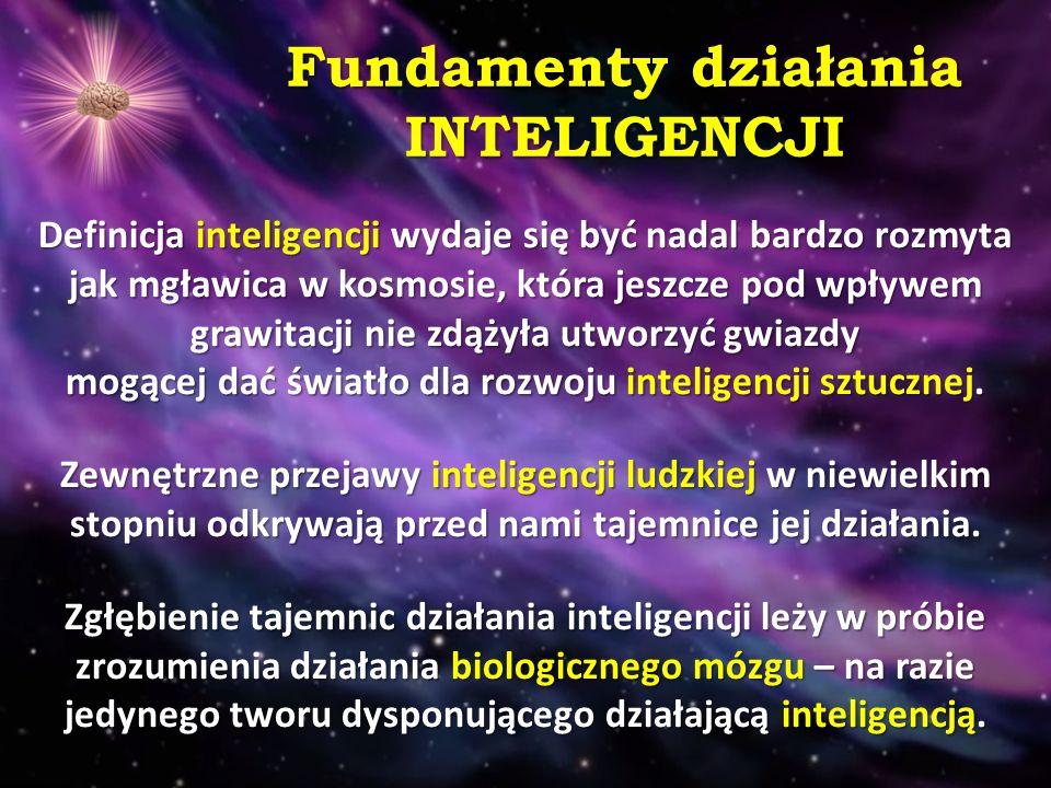 Logiczne fundamenty działania INTELIGENCJI Inteligencję próbowano zdefiniować na bazie LOGIKI i MATEMATYKI, tworząc systemy regułowe i języki, tj.