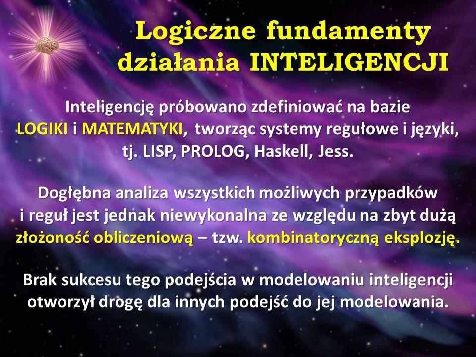 Wiedza jako fundament działania INTELIGENCJI Uświadomiono sobie, iż inteligencja wymaga wiedzy, więc na różne sposoby w systemach informatycznych próbuje się modelować i reprezentować wiedzę, lecz okazało się to być równie trudnym zadaniem jak modelowanie inteligencji.
