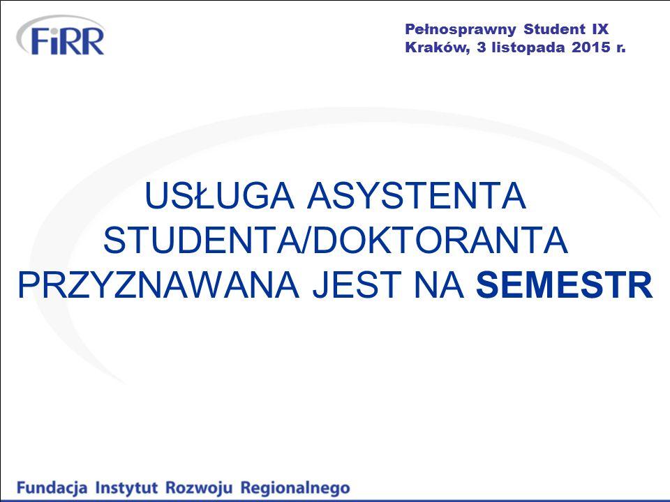 Pełnosprawny Student IX Kraków, 3 listopada 2015 r. USŁUGA ASYSTENTA STUDENTA/DOKTORANTA PRZYZNAWANA JEST NA SEMESTR
